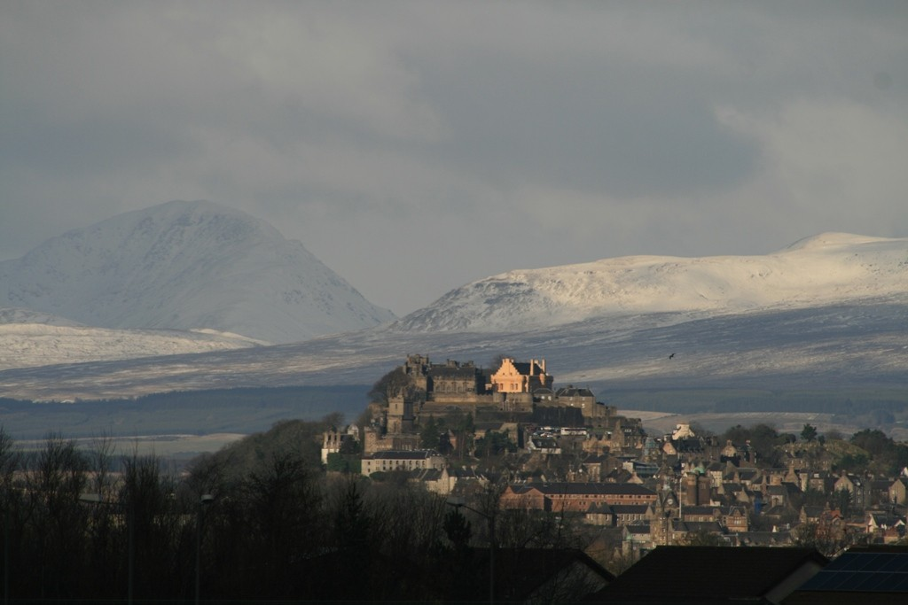 Stirling Castle in a wintry setting. Copyright Scotts Castle Holidays