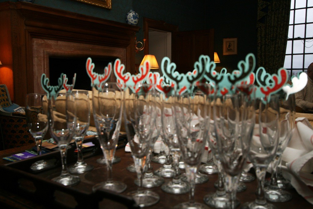 Getting the glasses ready for a party. Copyright Scotts Castle Holidays