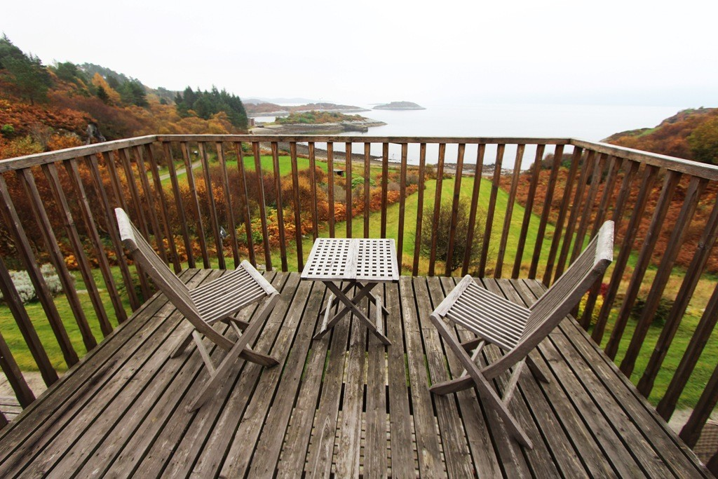 An outdoor room with a view. Copyright Scotts Castle Holidays