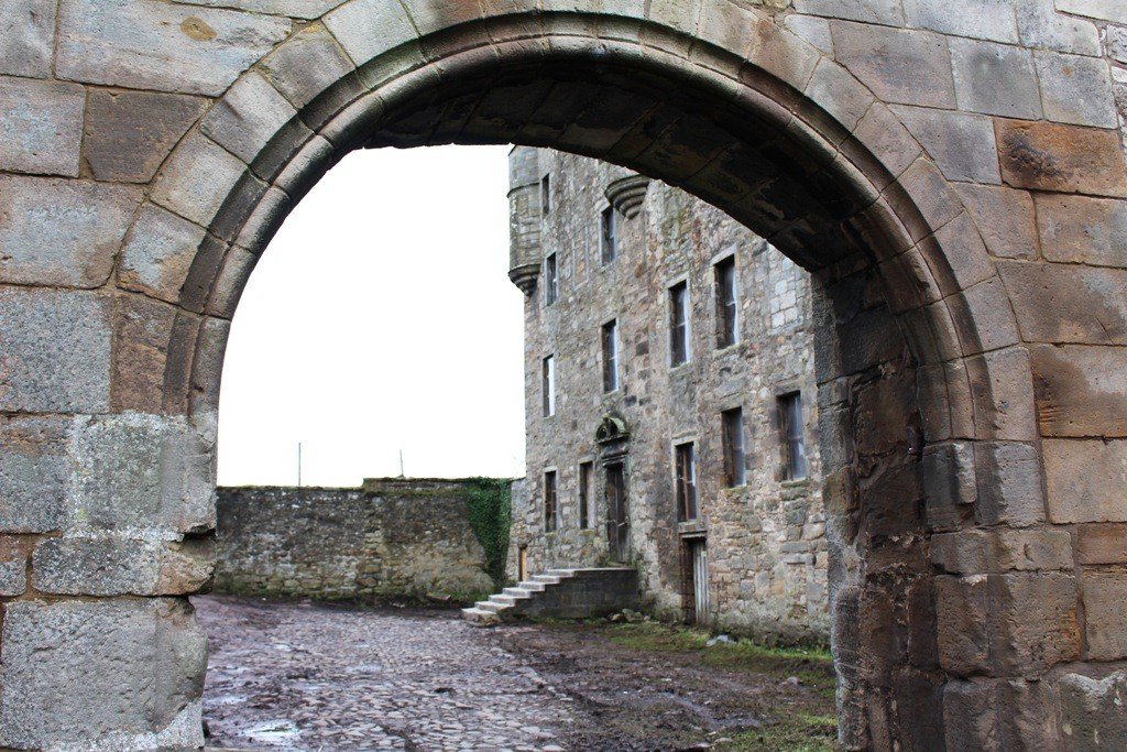 The entrance gate to Midhope Castle (Lallybroch). Copyright Antony Sherlock
