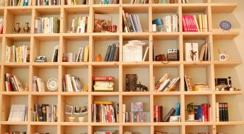 contemporary book case filled with books