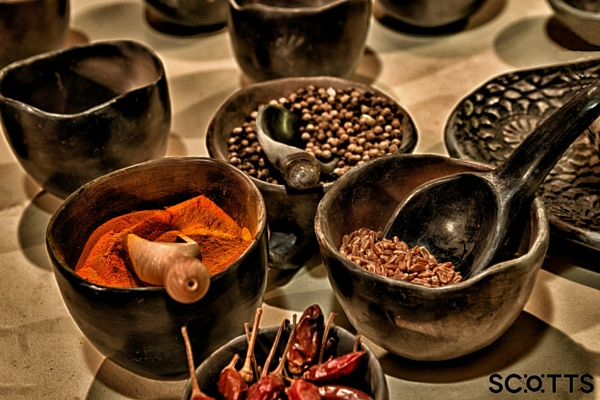bowls of colourful spices
