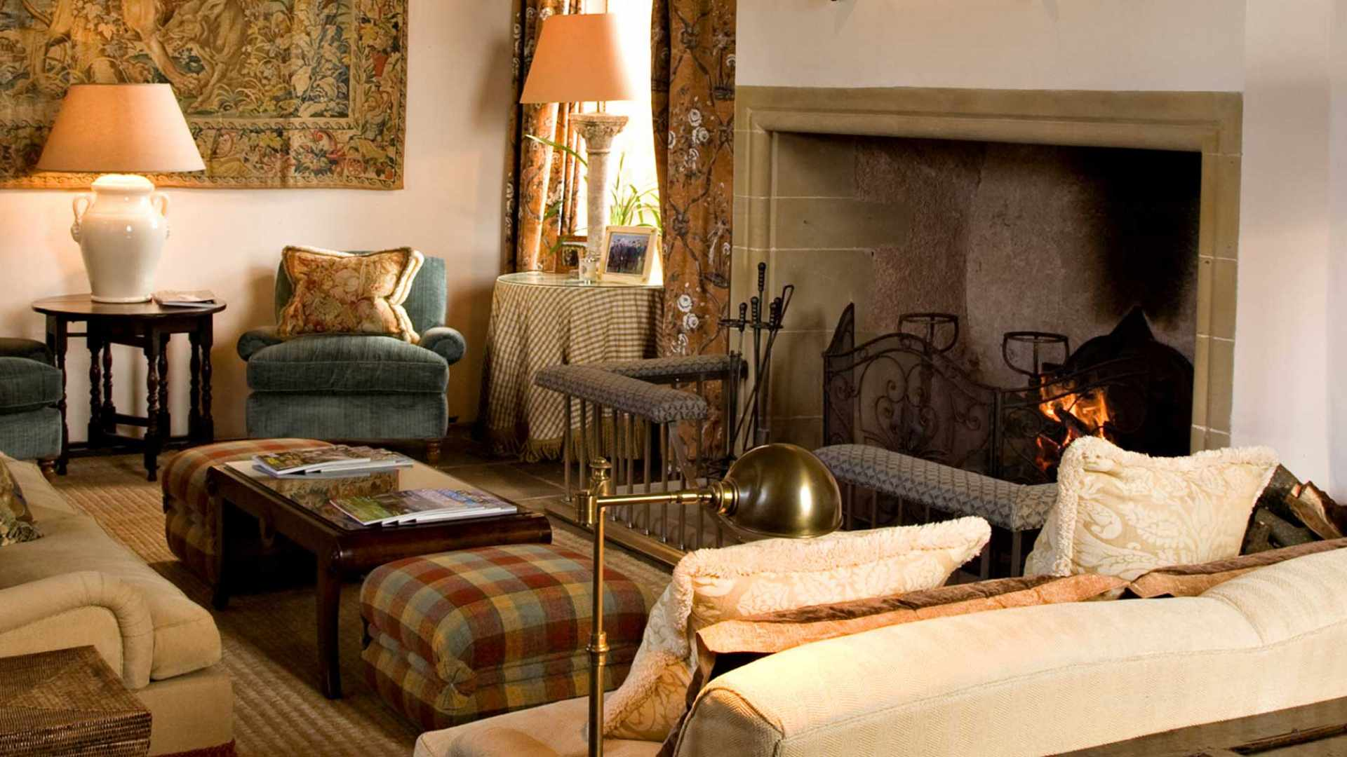Fabulous example of an Inglenook fireplace, great hall and hanging tapestry