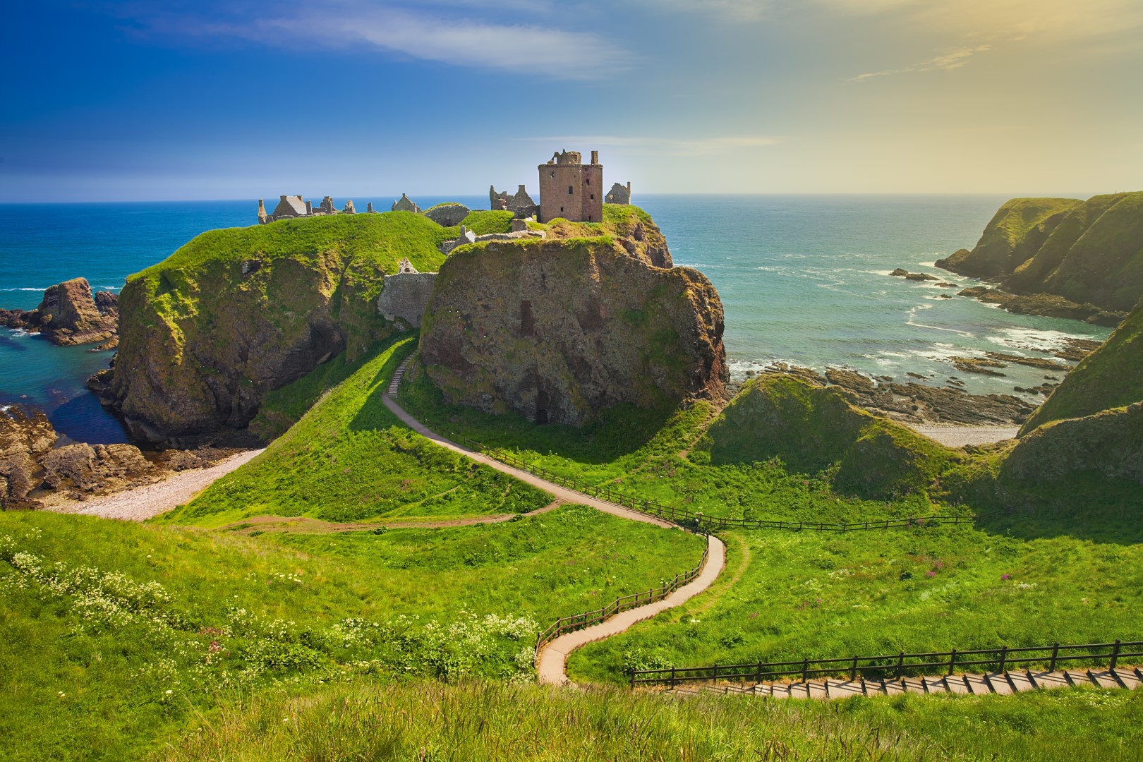 Dunnottar Castle is a medieval fortress in Aberdeenshire