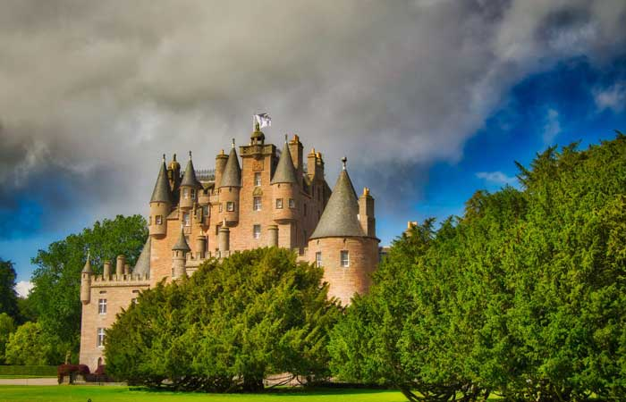 Glamis Castle by the village of Glamis in Angus