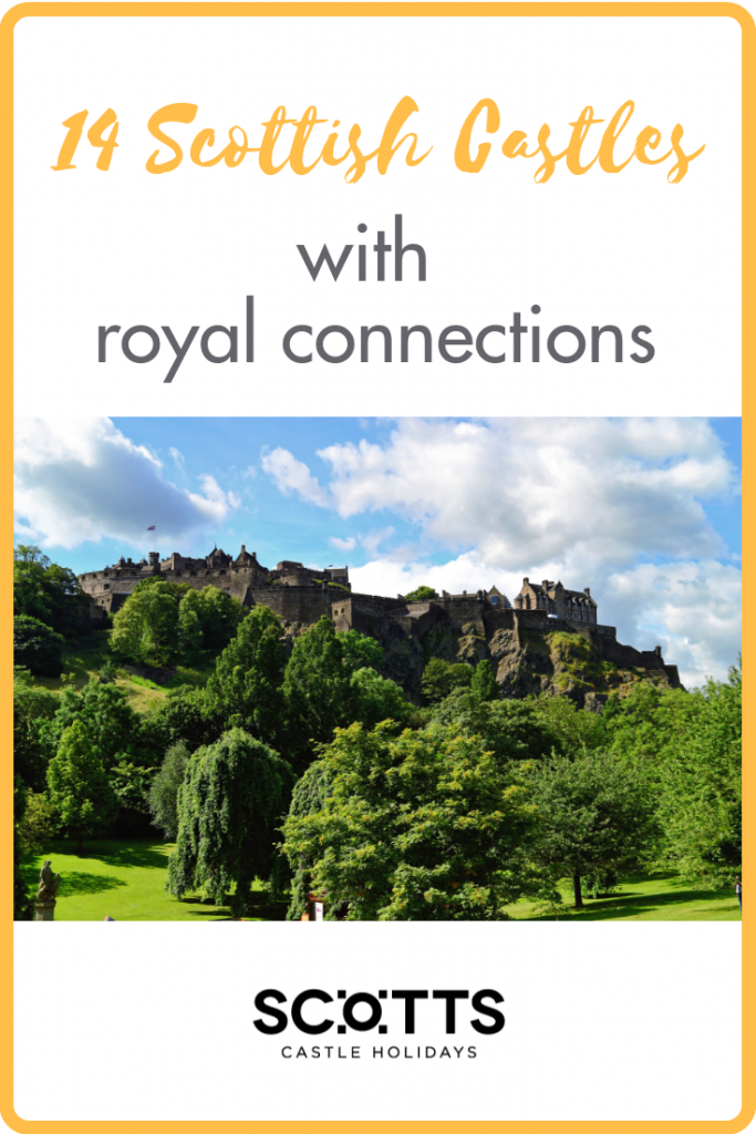 Take a tour of 14 Scottish castles with royal connections, some dating back a thousand years.