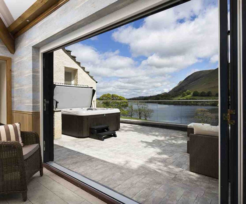Ullswater luxury large group rental with hot tub overlooking the lake