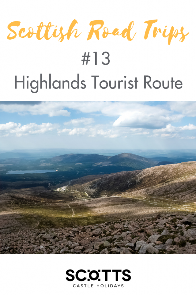 Pinterest graphic for the article Highlands Tourist Route one of 13 Scottish road trips.