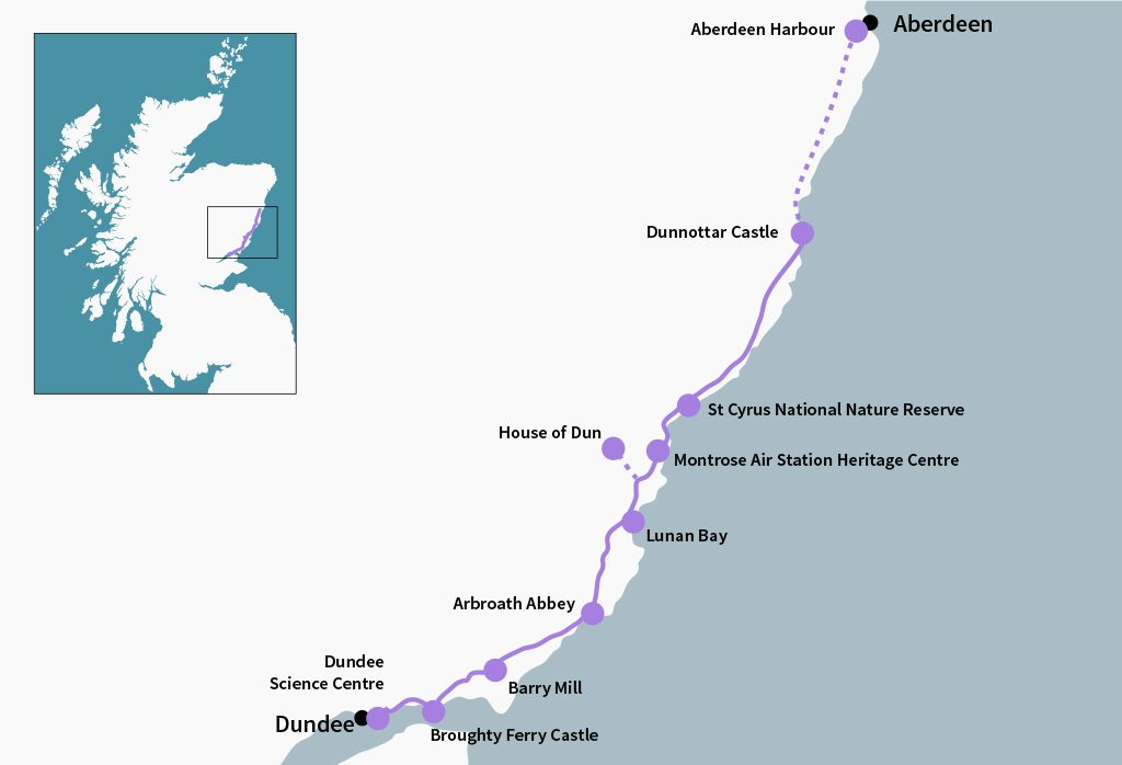 The Angus Coastal Route covers 68 miles, almost all of which follows the contours of the coastline.