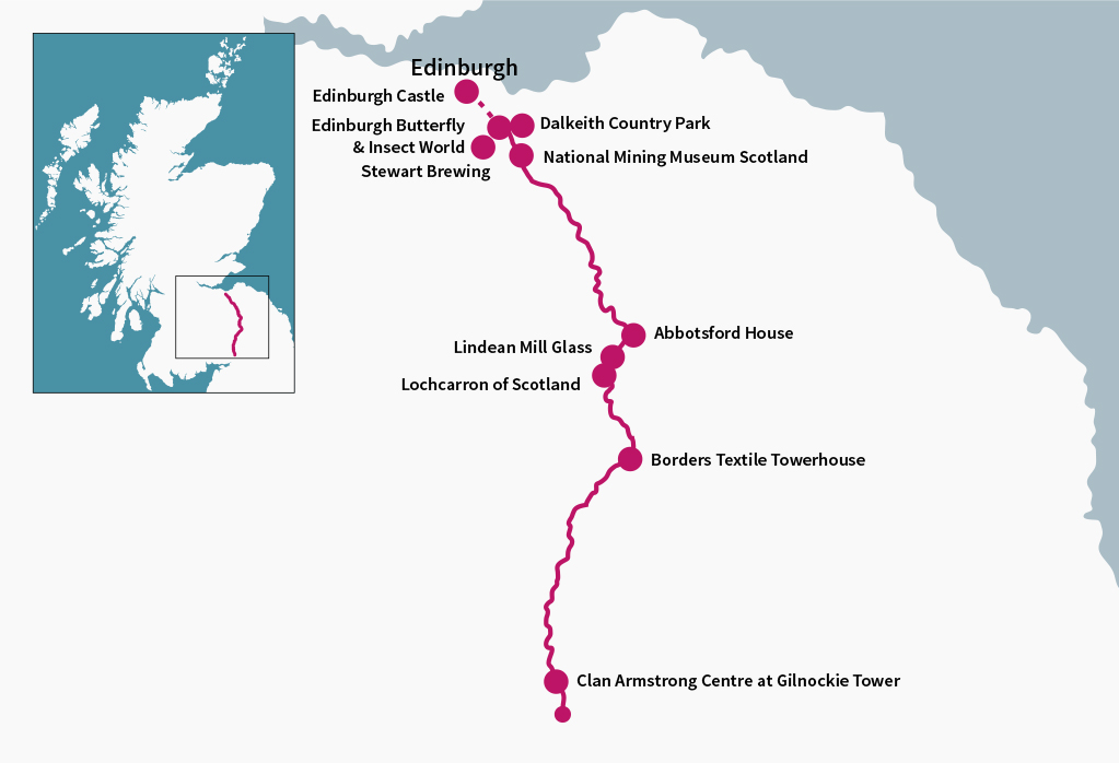 The Borders Tourist Route travels along 89 miles of lovely Scottish countryside through the Borders.