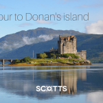 Panoramic shot of Eilean Donan Castle in Scotland