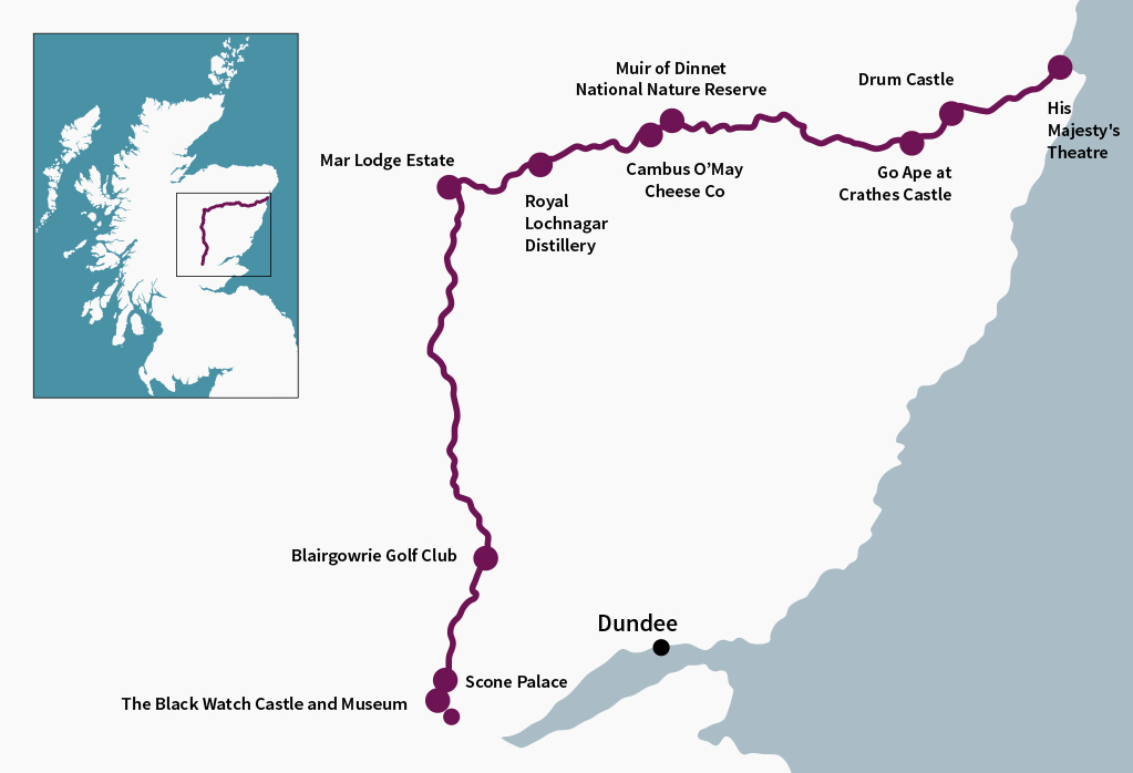 The Deeside Route travels from the market town of Perth to the great city of Aberdeen