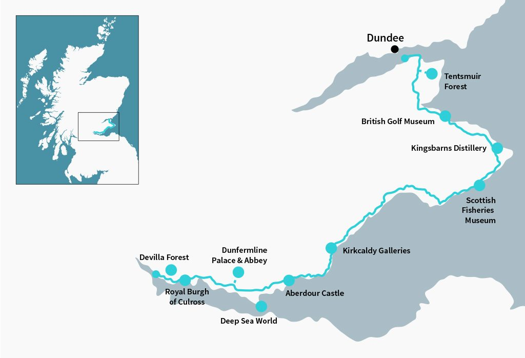 Fife Coastal Route starts and ends on bridges crossing two of Scotland's greatest rivers