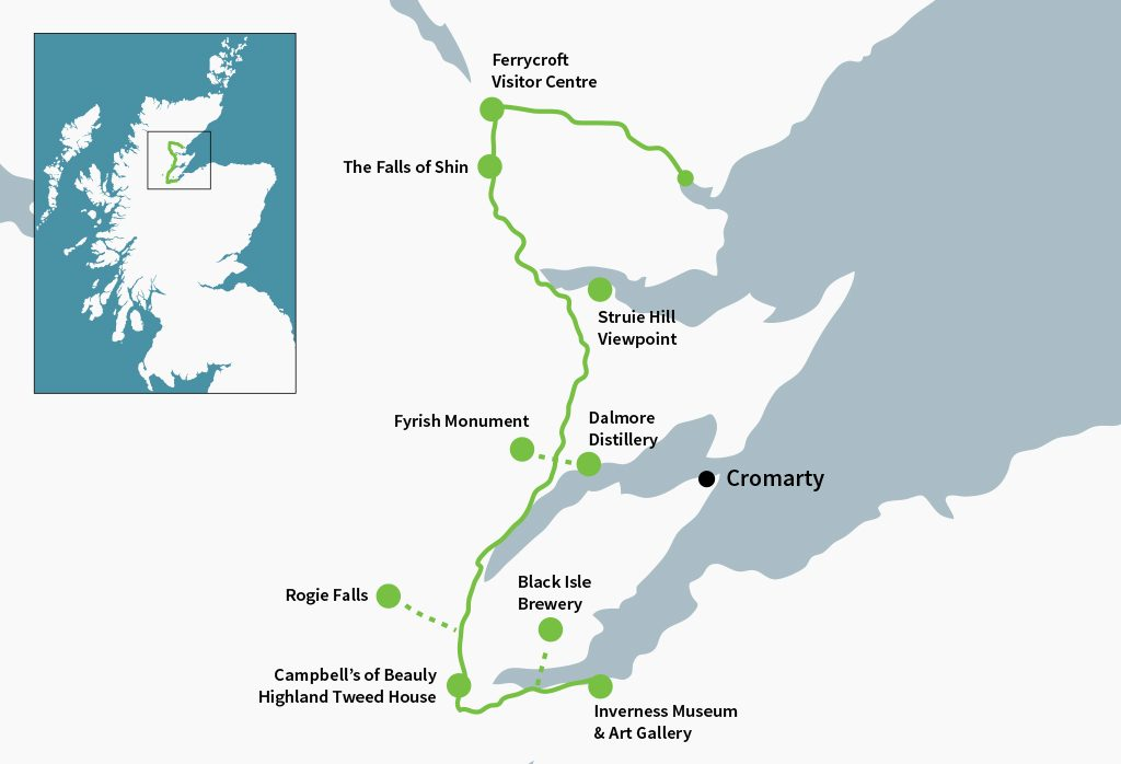 The Moray Firth Driving Route in the North East taking in the Dalmore Distillery