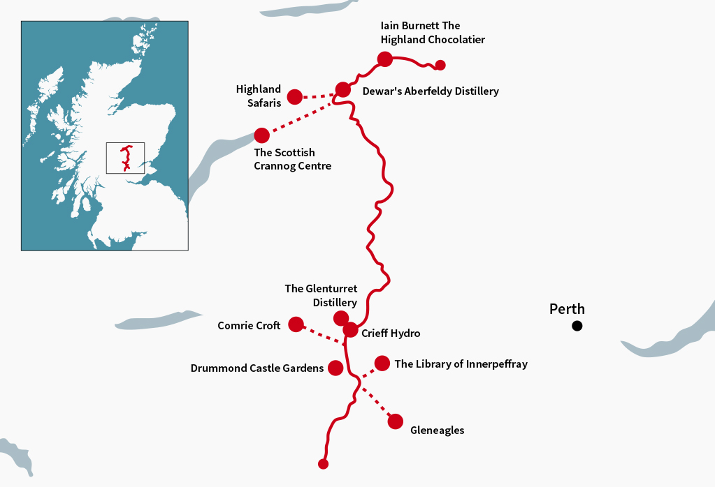 Perthshire Tourist Route with some great stops along the way