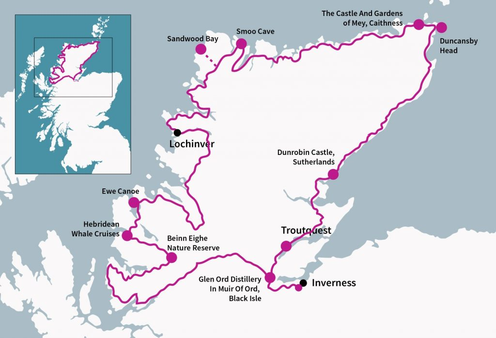 North Coast 500 Route with some of the fabulous attractionss along the way