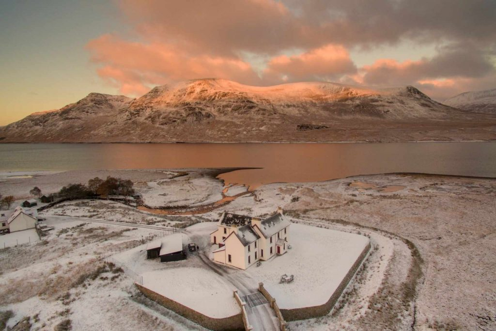 Snow Covered Remote Highland Lodge by Loch Ericht
